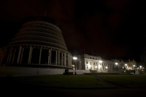 Parliament Beehive by night, photographed to during Earthday Hour