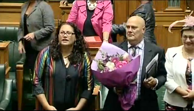 Fair and Right: Labour MP for Manurewa, Louisa Wall celebrates with MPs of all parties after the passing of the Marriage Equality Bill into law last night.