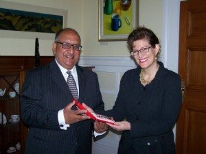 Image GG.Govt.NZ: Rebecca Kitteridge was presented in 2008 with Badges of the Secretary and Registrar of the Order of New Zealand, the New Zealand Order of Merit and Queen's Service Order by the Governor-General, Hon Anand Satyanand.