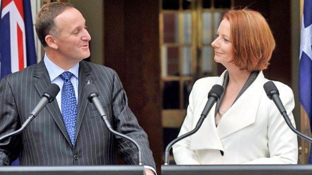 New Zealand Prime Minister John Key and Australian Prime Minister Julia Gillard meet to discuss developing an 'agreeable' refugee policy.