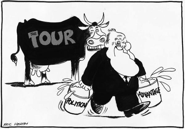 The Tour. Political advantage, by Eric Heath, August 3, 1981.