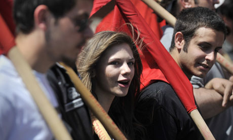 Young leftwing protesters march in Athens
