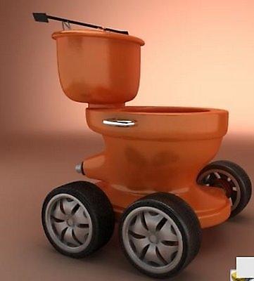 orange toilet on wheels