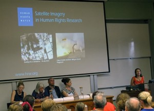 Human Rights Watch's Elaine Pearson speaking at the Sydney  seminar. Other panellists (from left) Stephanie Hankey,  Wendy Bacon, Jeremy Donovan and Gemma Pitcher. Photo: David Robie.