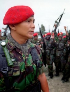 Lieutenant-General (ret) Prabowo ... accused  of atrocities in Timor-Leste and now campaigning for the presidency as an anti-corruption reformer. Photo: Indonesia 2014.