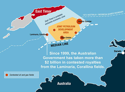 The Timor Gap area between Australia and Timor-Leste. Source: Dollars&Sense