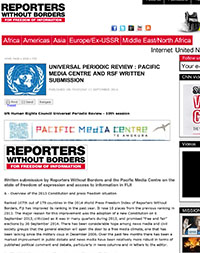 Universal Periodic Review : Pacific Media Centre and RSF written