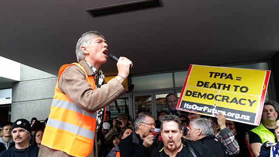 TPPA rally, Auckland, 15 August 2015. Photo: David Robie