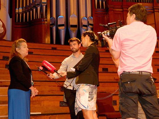 Journalists interviewing Lori Wallach, director of Public Citizen's Global Trade Watch, at the Auckland Town Hall last night. Photo: Del Abcede/PMC