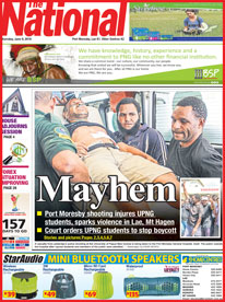 The front page of today's The National, one of PNG's two national daily newspapers.