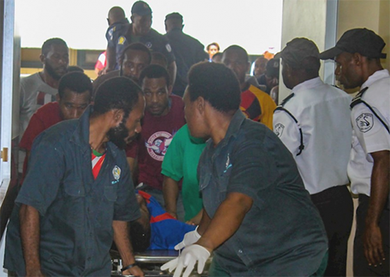 The scene at Port Moresby General Hospital yesterday as wounded students were brought in for treatment after the shootings. Image: Asia Pacific Report/Amnesty International
