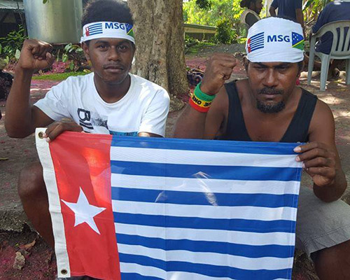 Solomon Islanders in Honiara protesting for West Papuan membership of the Melanesian Spearhead Group. Image: Free West Papua Campaign FB/ Asia Pacific Report