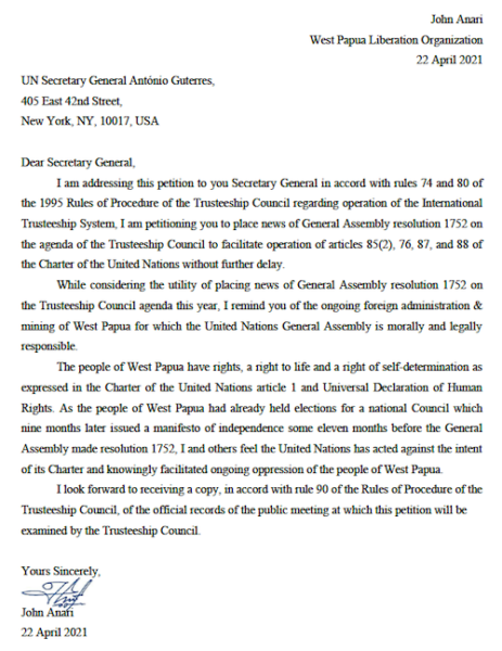 The West Papua letter to the UN Secretary-General
