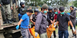 Indonesian police and body