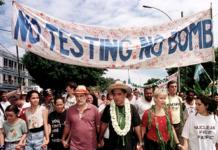 Oscar Temaru and a Tahiti antinuclear protest